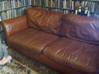 DFS leather sofa 3 4 seater