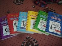 6 diary of a wimpy kid books - very good condition -