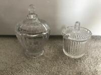 2 small glass jars sweetie table wedding