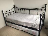Ariela Black Metal Daybed with Pop Up Trundle & 2 Single Mattresses