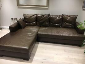 John Lewis corner leather sofa bed