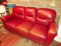 3 seater red leather sofa