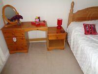 Pine Dressing Table & Pine Bedside Unit Set