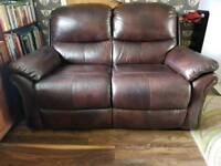 Leather two seater La-z-boy static sofa dark brown leather