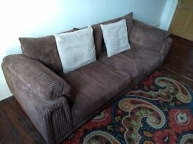 Brown 4 & 3 seater sofas