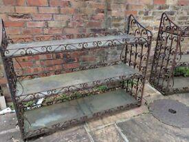 2 x Cast iron garden shelves. free