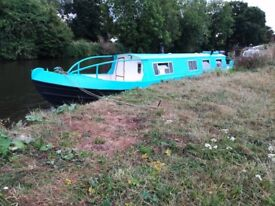 42ft Harborough boat / narrowboat / canal boat, blue and white