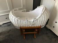 Mothercare Apples and Pears Moses Basket with Gliding Stand