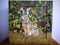 Hand painted hare and blackberries cabinet