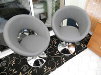 Grey Swivel Leather Chairs with Chrome Bases