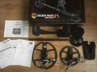 "Golden mask 5 plus with x2 Coil 12"" & 7"" nearly new boxed metal detector"