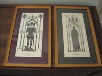Two framed pictures in the style of brass rubbings