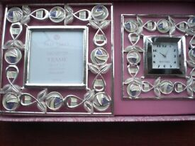 Past Times Mackintosh Silver Plated Matching Clock and Frame Set (New/boxed)