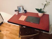 RED/ PINK FRENCH VINTAGE DESK AND WOODEN CHAIR