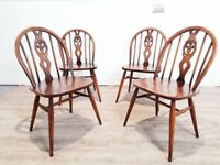Ercol Vintage Fluer De Lys Spindle Back Chair Set Model no 8784 (Matching Table Also Available)