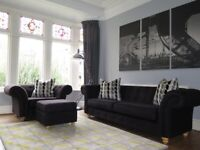 Black DFS Chesterfield Sofa, Chair & Footstool (3 Piece Suite)