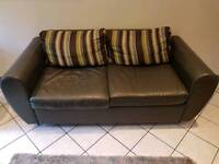 Leather sofa 2.5 seater dark grey