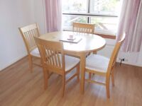 Pine Effect Extendable Dining Table & 4 Chairs
