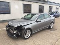 2013 MERCEDES-BENZ C220 AMG SPORT CDI BLUE-EF SILVER DAMAGED SALVAGE REPAIRABLE