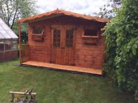 NEW 12x8FT HEAVY DUTY T&G TIMBER FULLY ASSEMBLED SUMMER HOUSE SHED TREATED