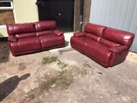 HARVEYS GUVNOR 3 AND 2 SEATER SOFA ARMCHAIR ELECTRIC POWER RECLINER THREE PIECE SUITE RED LEATHER