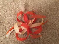 REDUCED : Wedding Fascinator : Ivory, Bright & Burnt Orange