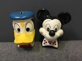 RARE VINTAGE RETRO ANTIQUE 60s DISNEY DONALD DUCK AND MICKEY MOUSE MONEY BOX CERAMIC SDHC