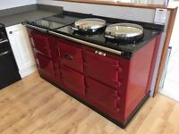 Ex Demo AGA 13 Amp Three Oven Cooker with Ceramic Top Module in Claret Red