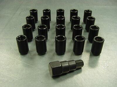 12x1.5 Steel Lug Nuts 24pc Set Lock Key Black Tuner Lugs Universal Tapered Cone