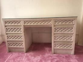 vintage style art writing desk or dressing table with glass top perfect for girls bedroom