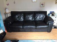 3 seater & 2 seater black leather sofas