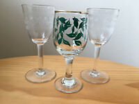 3 pretty vintage small stemmed glasses - 2 Greek key + 1 green leaf design. £2.50 lot.