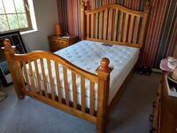 5 PIECE BEDROOM FURNITURE PINE KING-SIZE BEDFRAME