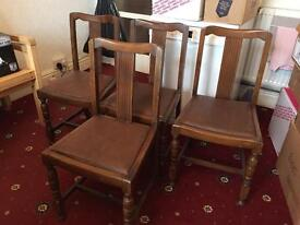 4 vintage style dining chairs wood