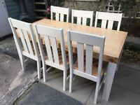 Shabby Chic Pine Chunky Dining Table and 6 Chairs Annie Sloan Old White Chalk Paint