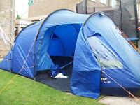 vango eos 350 3 man person tent 1 bedroom with built in groundsheet & living area ground sheet vgc