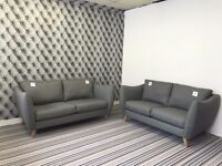 City Loft 3 Seater And 2 Seater Sofa In Suma Silver Fabric