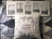 Home bundle includes french style 5 pic frame+matching cushion