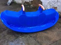 Star Play Children's See Saw Large Sturdy Plastic Rocking SeeSaw Seats 3 Kid's Rocker Toy (Blue)