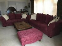 2 and 3 seater sofas with footstool by Collins and Hayes