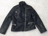 Zara girls faux black leather biker jacket age 9/10
