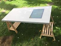 IKEA drafting table/desk with adjustable top, lightbox and IKEA 'Finnvard' trestles