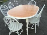 Oak extending dining set 4 chairs only