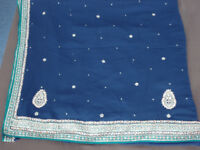 Indian navy blue saree with silver embroidery, sequins & 38C blouse