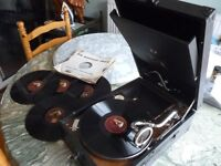 beautiful original(HMV)v/nice his masters voice 78 speed table top gramophone & five english records