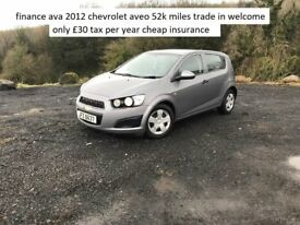finance ava 2012 chevrolet aveo 1.2 55k miles £30 tax trade in welcome