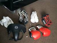 Boxing shoes x4 size7 .gloves and gronie protection.