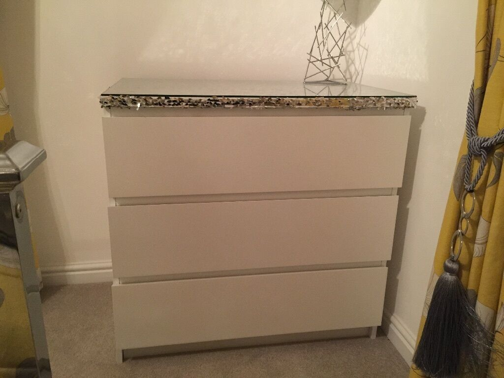 Silver sequin customised white malm ikea chest of drawers with glass top great condition in