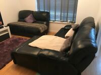FINAL CHANCE TO BUY - Black Leather Recliner Sofa (manual, 2-4 seater)