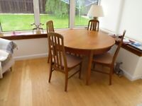 Teak Dining Room Table and 4 Chairs